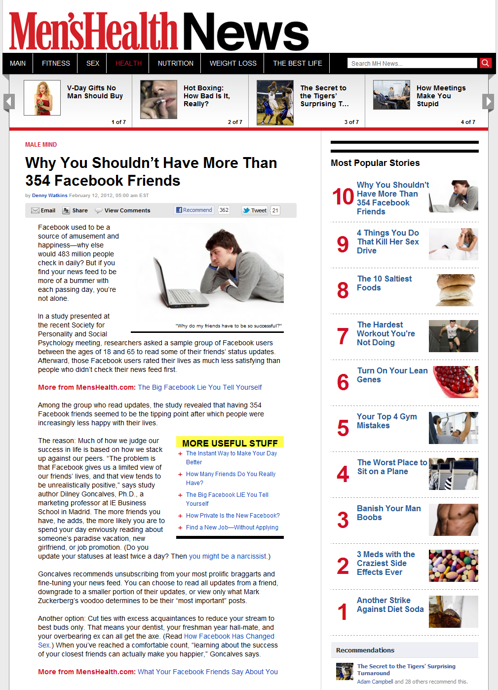 Facebook Lowers Your Self-Esteem - Men's Health News