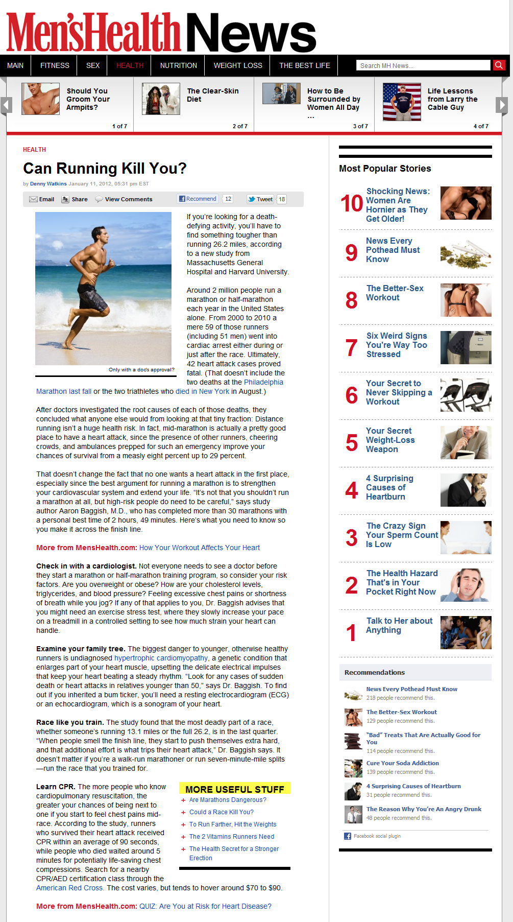 Heart Attacks and Marathon Running - Men's Health News